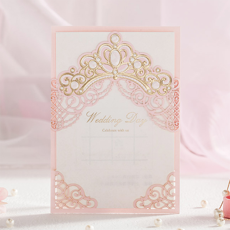 Design Crown Pink Laser Cut Invitations For Wedding Blank Paper Invitations Cards Printing Party Birhtday Card Kit square design white laser cut invitations kit blanl paper printing wedding invitation card set send envelope casamento convite