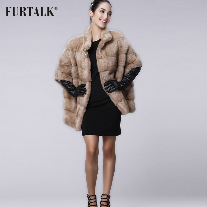 FURTALK brand Russian Winter Women's Real natural mink fur coat