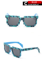 LongKeeper Fashion Kids Sunglasses Square Mosaic Sun Glasses Children Pixel Sunglasses Trendy Boys Girls Glasses With Case KM01