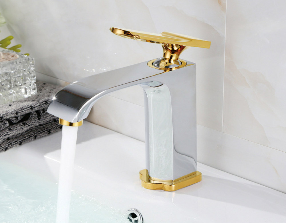 BAOLINLONG New Style Basin Brass Bathroom Faucets Tap Deck Mount Vanity Vessel Sinks Mixer faucet in Basin Faucets from Home Improvement