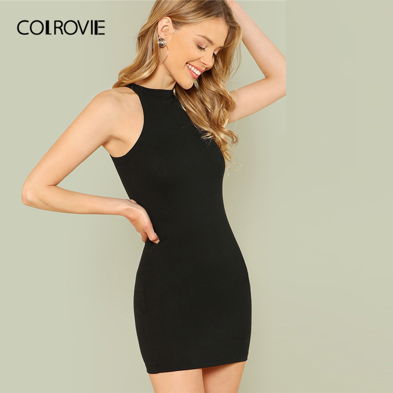 COLROVIE Black <font><b>Sexy</b></font> Sleeveless Mock Neck Yellow Halter Summer <font><b>Dress</b></font> 2018 <font><b>Orange</b></font> Slim Casual Women Basic Bodycon Mini <font><b>Dresses</b></font> image