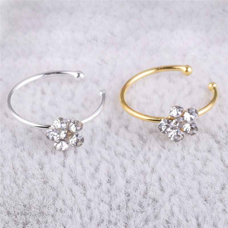Stainless Steel Circular Nose Ring Circular Punk Small Thin Clear Rhinestone Flower Lip Ear Nose Clip On Fake Piercing