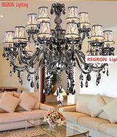 Regron Italy Chandelier Smoky Grey Crystal Chandelier For Lounge Restaurant Villa Banquet Living Room Splendid 15 Arm Luminary