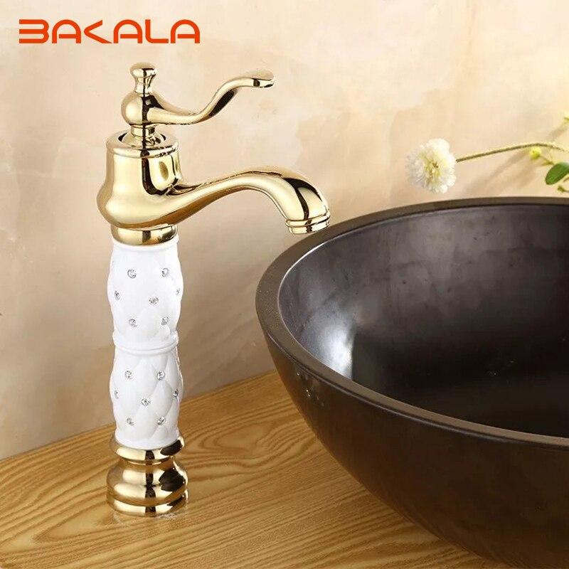 Élégant moderne de luxe en cristal doré eau chaude et froide salle de bain robinet de lavabo monotrou avec robinet mitigeur en laiton monté sur le pont de diamant