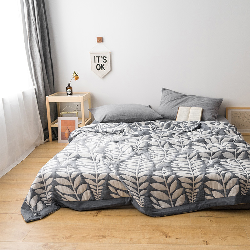 2019 Summer Throw Blanket 100% Cotton Gauze Quilt Tree Leaf Home Bedding Elegant Bedspread Geometry Bed Linen200*230cm 1pc Duvet