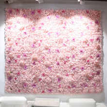 40x60cm Artificial Flower Panels Wedding Decoration Backdrop Champagne Silk Rose Fake Flowers Hydrangea Wall 24pcs