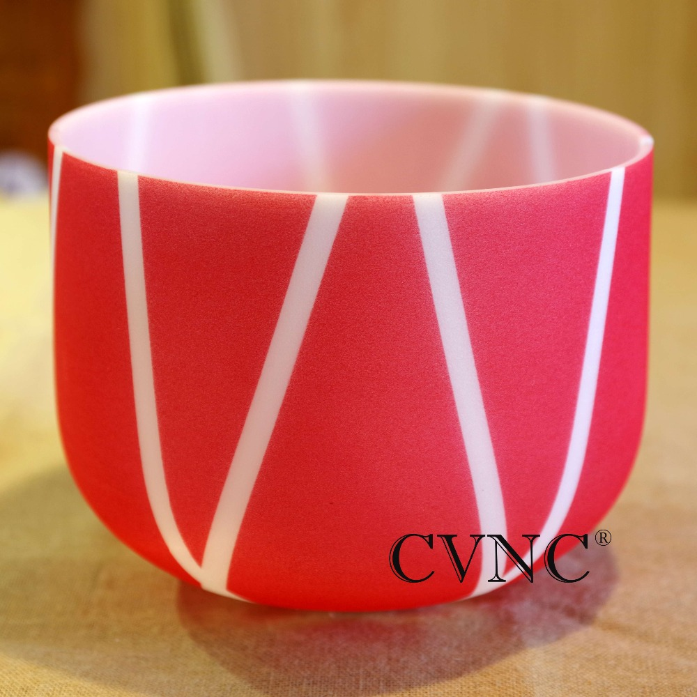 Note 9 inch Color stripe Chakra Frosted Quartz Crystal Singing Bowl for Healing Sound GiftNote 9 inch Color stripe Chakra Frosted Quartz Crystal Singing Bowl for Healing Sound Gift