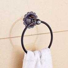Недавно Euro Style Кристалл Полотенце Кольцо Держатель Масло втирают Бронзовый Вешалка Для Полотенец Полка Настенная