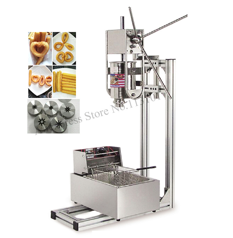 Commercial Deluxe Stainless Steel 3L Churro Maker + 6L Electric Fryer, Manual Spanish Churros Making Machine Capacity 3L churro display warmer deluxe stainless steel churro showcase machine with heat food warmer and oil filter tray