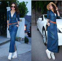 Autumn Blue Denim Dress Jean Cowboy Elastic High Stretch Package Hip Bodycon Pencil Dress Women Maxi Dresses