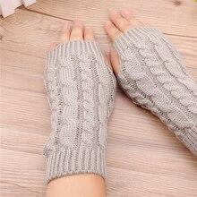 Best 20Cm Women Gloves Stylish Hand Warmer Winter Gloves Women Arm Crochet Knitting Faux Wool Mitten Warm Fingerless Gloves