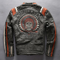 AVIREXFLY estilo Punk crânios Bordados dos homens jaqueta de couro da motocicleta Do Vintage preto genuínos homens jaqueta de couro jaqueta de motociclista