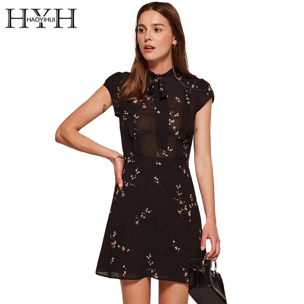 Hyh Haoyihui Floral Print Wrap Dress Women Long Sleeve V-neck Sheer Fashion Sexy Party Club Casual 2018 New Comfortable Feel Women's Clothing