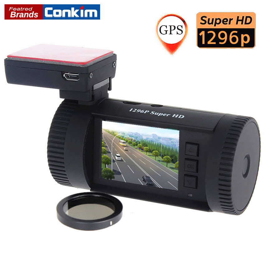 Conkim Car DVR Mini 0826 Ambarella A7 Super HD 1296P 1080P HDR Auto Dash Camera Car GPS Registrar ADAS w/ CPL As Well As 0806 gps навигатор lexand sa5 hd