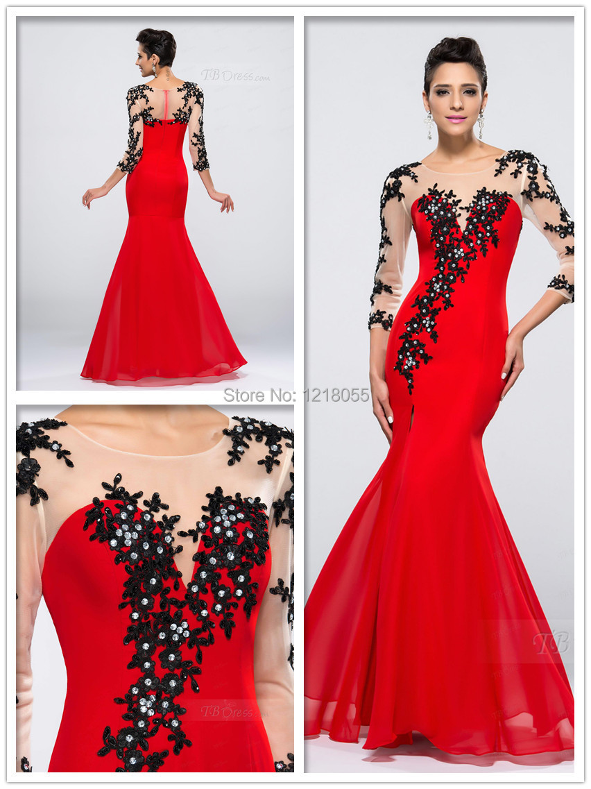 2015 New Fashion Red Chiffon Black Lace long Sleeve Mermaid Scoop Formal Evening party Dress Floor length Prom Dresses vestido - IDONFRESS store