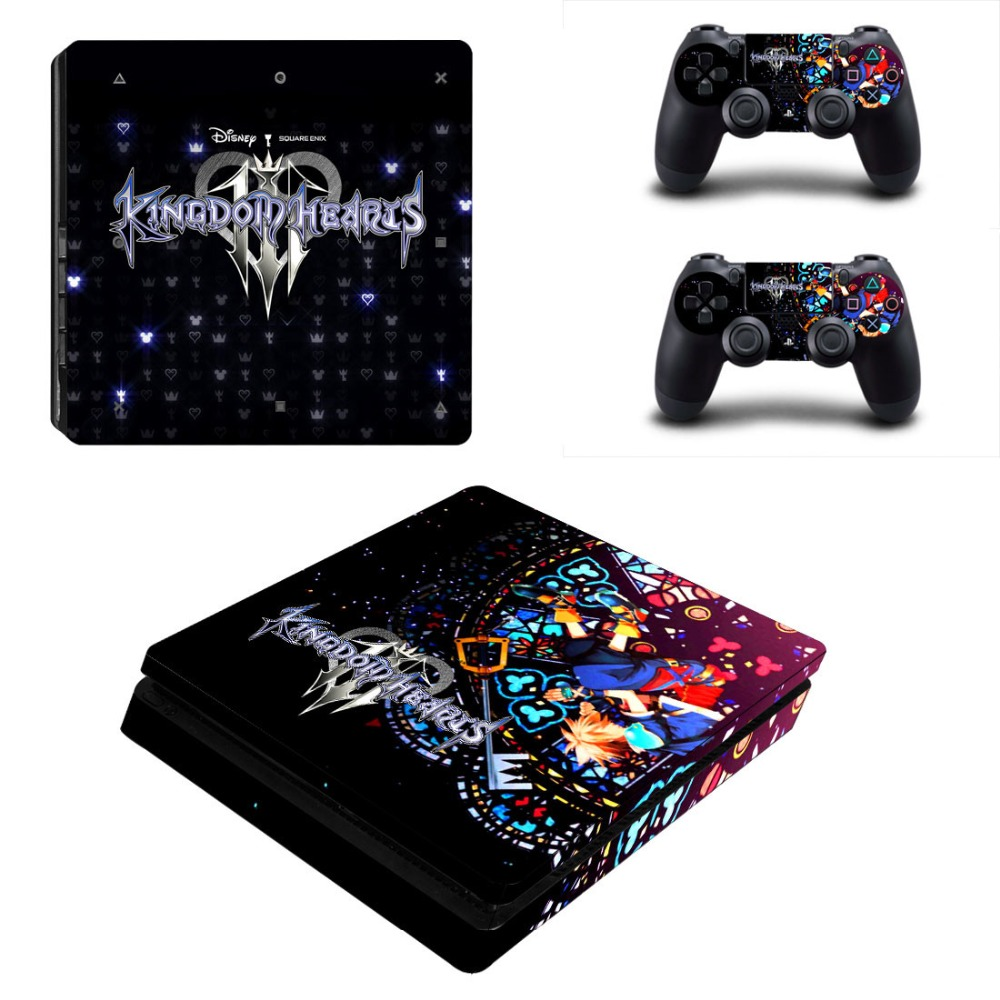 Game Kingdom Hearts PS4 Slim Skin Sticker Decal Vinyl for Playstation 4 Console and 2 Controllers PS4 Slim Skin Sticker