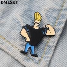 DMLSKY Johnny Bravo Clothes Brooch Metal Enamel Pin Women and Men Fashion Brooches Shirt Collar Pins Badge M3583 цена
