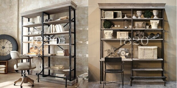 American Iron Pipe Wood Desk Combination Bookcase Creative Floor Wall Shelving Racks Bulkhead