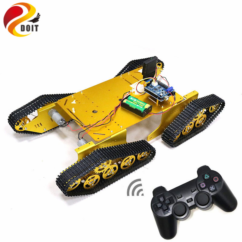 T900 Bluetooth/Handle/WiFi RC Control Robot Tank Chassis Car Kit with UNO R3 Development Board+ 4 Road Motor Driver Board DIY doit rc metal robot tank chaiss t300 wireless wifi car with esp8266 development board kit remote control page 4
