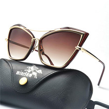 2018 Brilhante Superdimensionada Óculos De Sol Das Mulheres Gato Senhoras  Shades UV400 Proteção chá Moda Óculos de Sol Para As M.. 58127d3f44