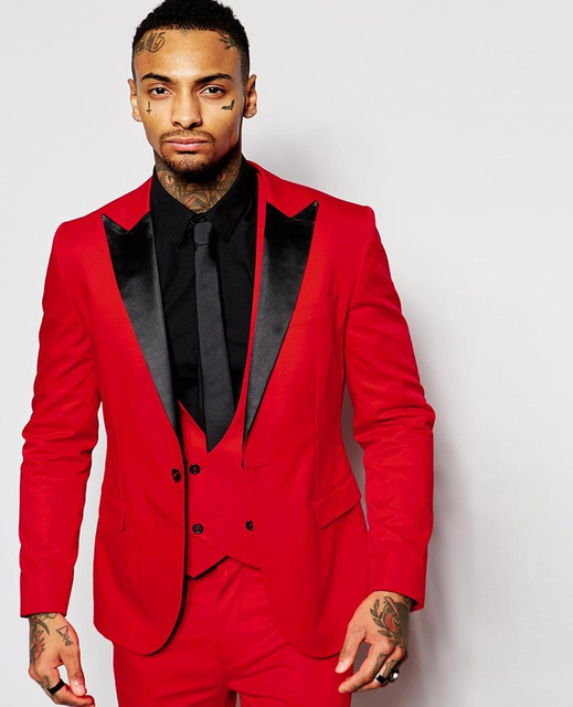 Handsome Red Men Wedding Prom Suits Black Lapel Slim Fit Tuxedos One ...