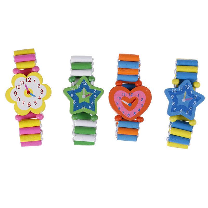 Pulsera para niños, reloj de madera falso, fiesta de bienvenida para bebé, niña, regalos de Navidad, juguetes novedosos