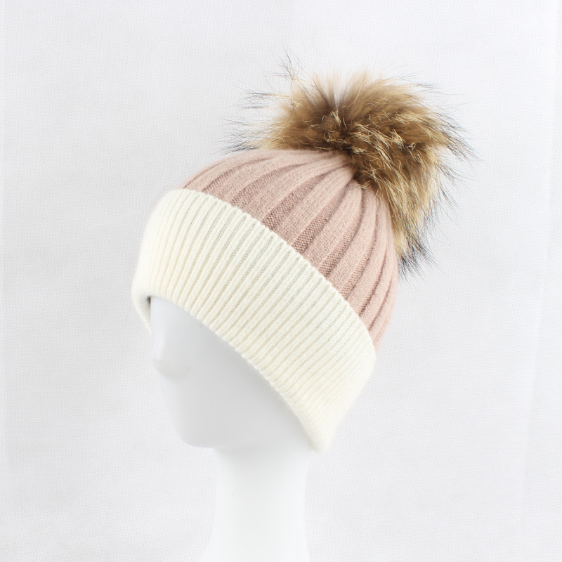Women Wool Blends Skullies Beanies Hats 15CM Raccoon Fur Pom Pom Lady Winter Genuine Fur Caps Headgear VF4020 skullies