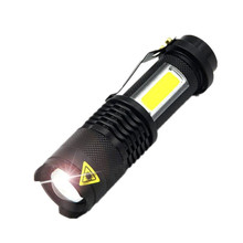 Portable LED Torch Q5 COB Mini Black 2000LM Waterproof LED Flashlight Zoom Torch Penlight Use AA 18650 Battery Lighting Lantern