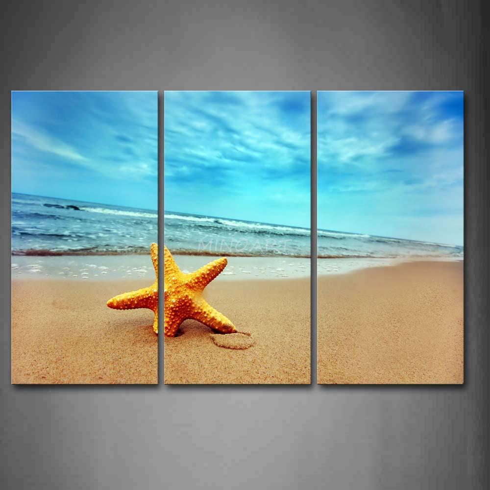 3 piece wall art painting yellow starfish beach print canvas