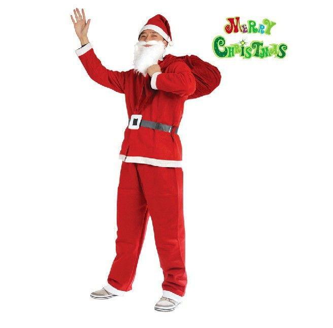 christmas santa claus costume for men women adult Fancy Cosplay Costumes Party red Suit Coat Pants Beard Belt Hat Set Plus Size