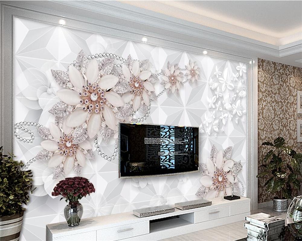 US $8 85 OFF Beibehang Modern Dekorasi Rumah 3D Wallpaper Fashion Perhiasan Mewah Bunga Ruang Tamu TV Latar Belakang Wallpaper Dinding Untuk