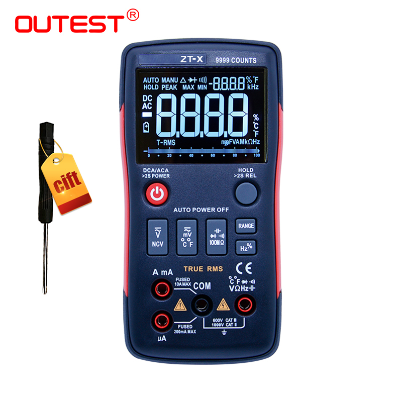 ZT Digital Icd Multimeter True RMS Auto Range Mastech Tester Diode Multimeter ac dc multimetro 409 sanwa with probe test lead b