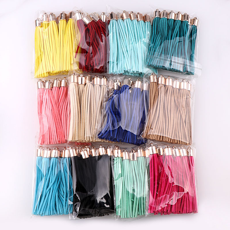 10pcs 8cm Long Gold Color Cap Suede Leather Tassel For Keychain Straps Jewelry Fiber Fringe  DIY Pendant Charms Findings