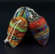 Bolso para joyería de regalo de algodón a rayas étnicas, 8x10cm, 9x12cm, 10x15cm, 13x17cm, paquete de 50 bolsas con cordón de caramelo para fiesta