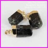 5 шт. природа черный турмалин руды драгоценный камень кулон, нунатак энергетическая чакра полудрагоценный камень подвески друзы кварц куло...