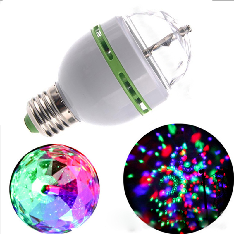 LED Bulb Christmas E27 3W Colorful Rotating projector Crystal led Stage Light Magic Ball DJ party disco Lamp
