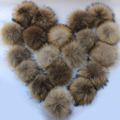 20pcs/ lot DIY 13cm Real Raccoon Fur Pompoms Fur balls for knitted beanies keychain and scarves shoes Real fur pom pom Wholesale