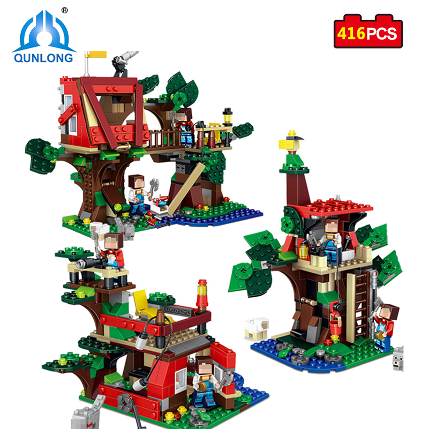 Qunlong 416 Pcs Minecraft MY World 3 in 1 Tree House Building Blocks Set Brick Action Figure Toys Gift Compatible Legoed Brand 3 in 1 world of warcraft wow resin action figure display set tauren witch doctor warlock
