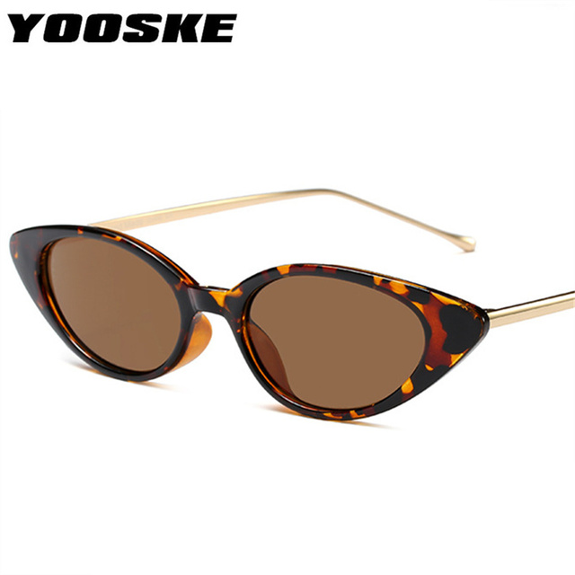 ffbc311699 YOOSKE Women Small Cat Eye Sunglasses Classic brand Designer Oval Metal  Frame Sun Glasses For Female Male Shades