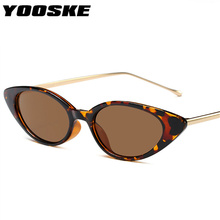 YOOSKE Women Small Cat Eye Sunglasses Classic brand Designer Oval Metal Frame Su