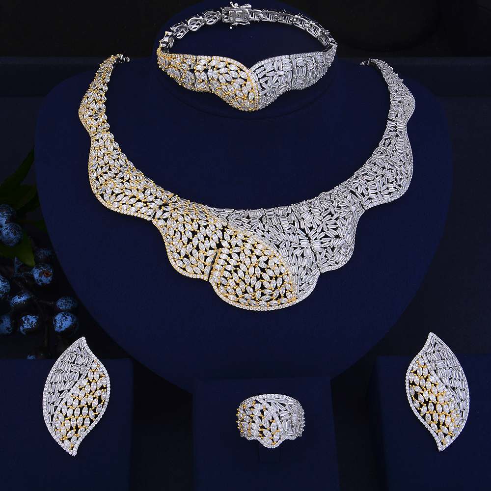 Luxury Bridal Jewelry Wedding necklaces jewelry Sets Big Collar Necklace Earrings Bracelet Ring Jewelry Sets For Women a suit of stylish rhinestone fake collar necklace bracelet ring and earrings for women
