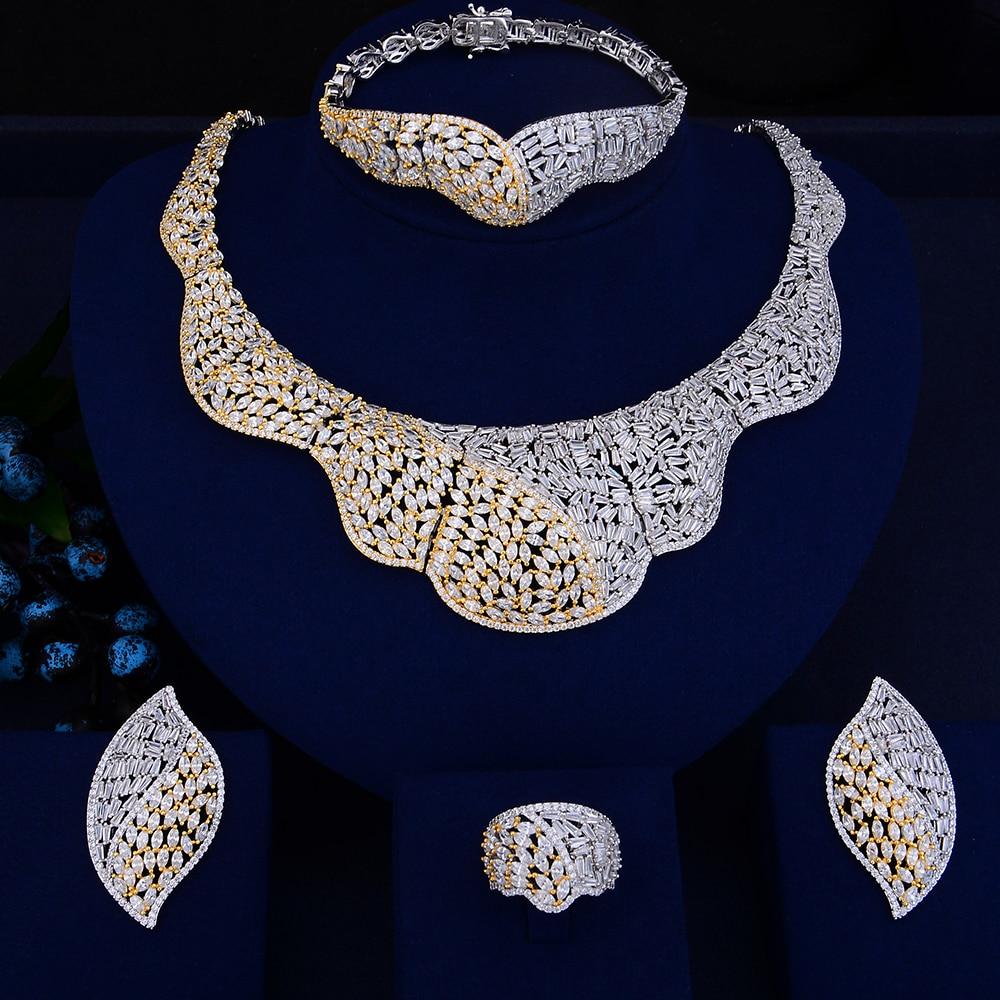 Luxury Bridal Jewelry Wedding necklaces jewelry Sets Big Collar Necklace Earrings Bracelet Ring Jewelry Sets For Women yfjewe silver necklace earrings and bracelet sets crystal ring jewelry for women jewelry sets bride wedding collar n087