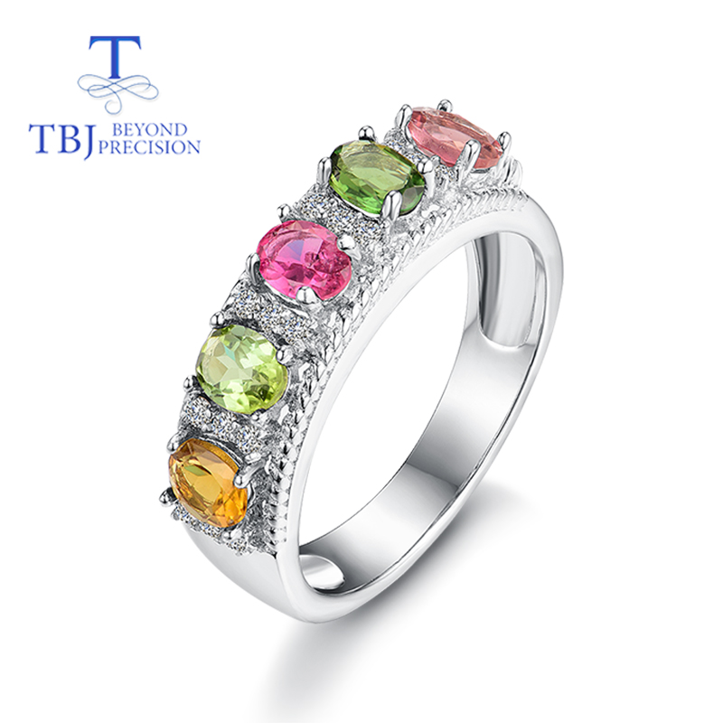 TBJ elegant classic gemstone Ring with 6pc natural fancy color tourmaline Rings 925 sterling silver for