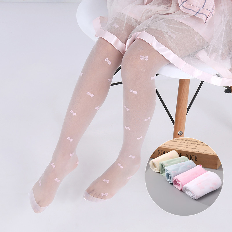 Flower Pattern Children Girls Tights Summer Thin Baby Girls Sheer Stockings Transparent Pantyhose for 2-15 Years pretty womens open toe sheer ultra thin tights pantyhose stockings leggings