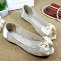 New 2017 Sexy Bow Open Toe Women Lace Flats Fashion Breathable Women Flat Summer Shoes Ladies Casual Ballet Flats Big Size 35-41
