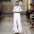 Mujer Otoño Restaurar pista Europea de alta gama de las mujeres moda blanco Solapa de la Media Manga del cuerno Delgado Vestidos Camiseros GB0033