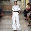 Mulher Outono Restaurar pista Europeu high-end moda feminina Camisa branca Lapela Meia Manga chifre Fino Vestidos GB0033