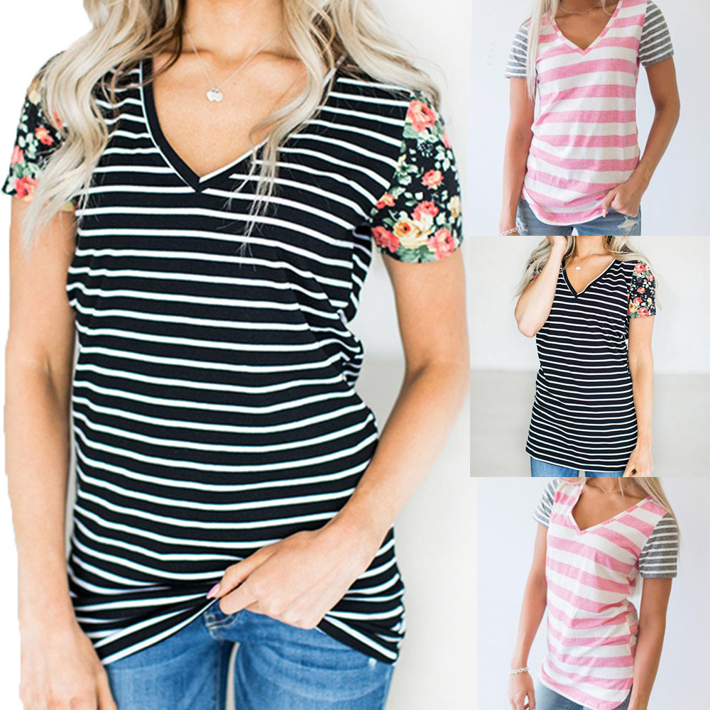 Hot Product Womens Casual Stitching Striped Short Sleeved V-Neck T-Shirt Top funny t shirts camisa femininadrop shopping