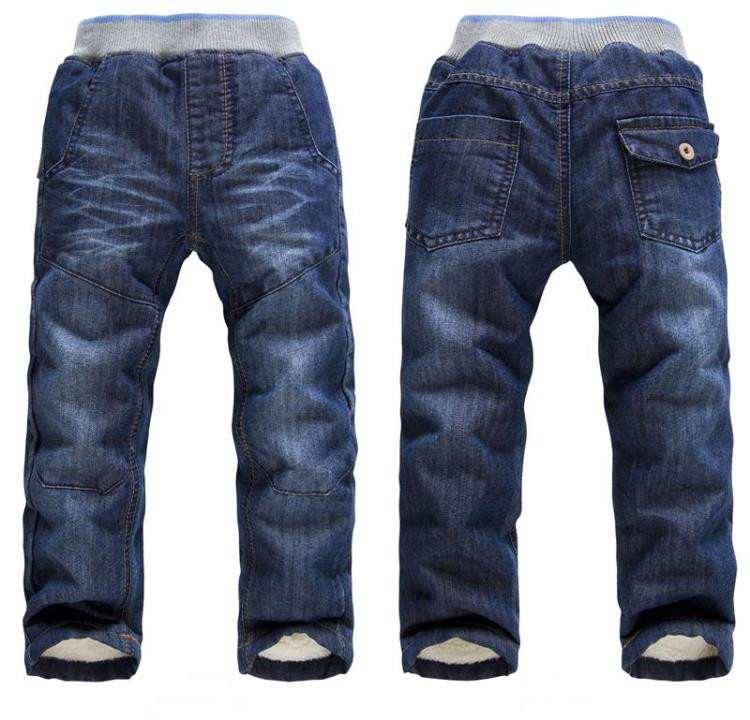 BibiCola Baby boys Girls Winter Denim Jeans Girls boys Thicken Warm Jeans High Quality Kids Winter Long Pants casual trousers