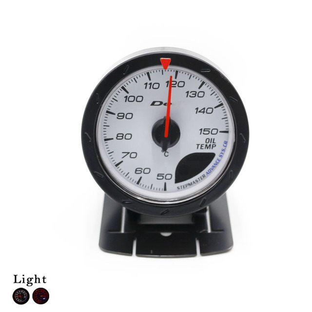 Oil Temp Gauge 60mm Car D*fi CR Advance Oil Temperature Gauge With Sensor White Face LED Auto Gauge Oil Temp Meter YC100129